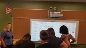 Teachers viewing Brightlink projected image
