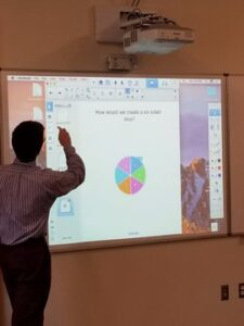 Instructor using Brightlink projection