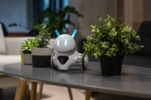 Photon on desk with plants