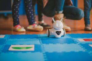 Photon on blue floormat