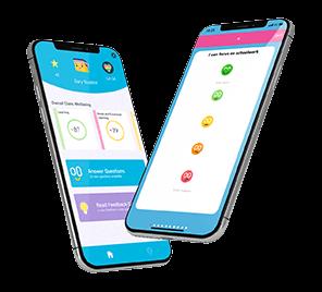 Two cells phones show school days app screen